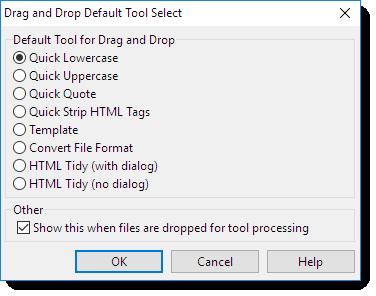 Drag and Drop Default Tool Select Dialog Box