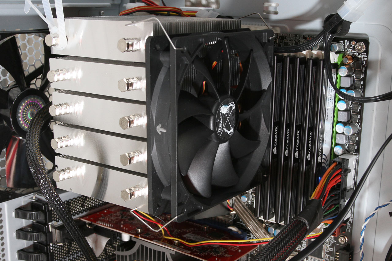 Installed Scythe MUGEN-2 CPU cooler and Corsair XMS3 DDR3 RAM