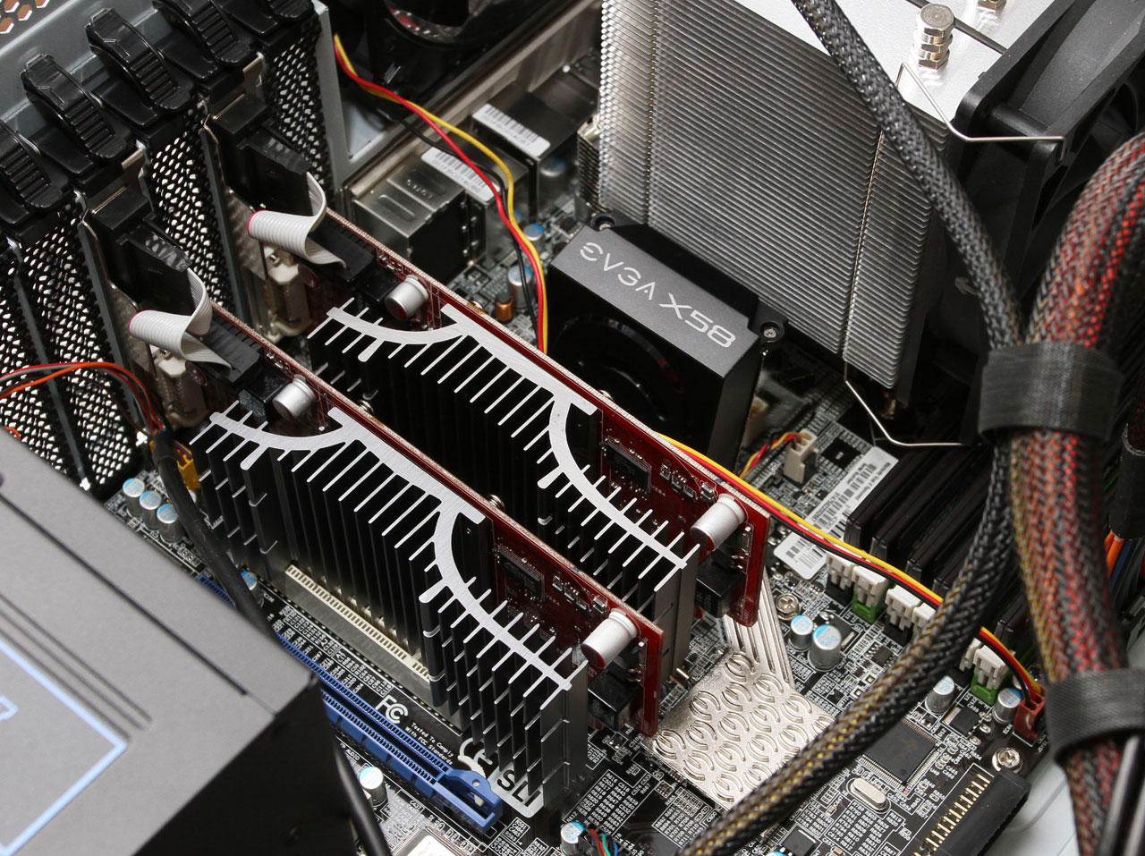 Dual ASUS EAH4350 (ATI 4350) silent video cards installed in the motherboard to support 4 monitors