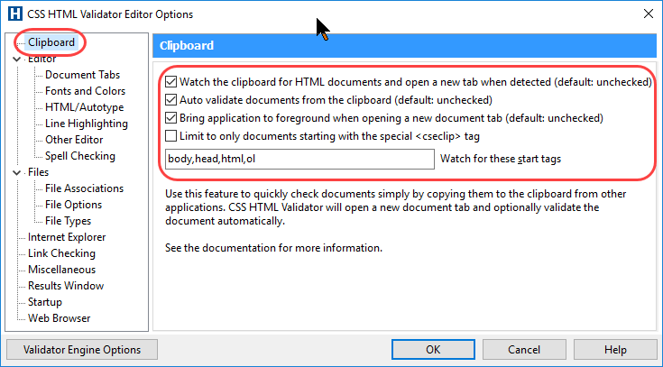 Screenshot of the Clipboard options in the Editor Options dialog box