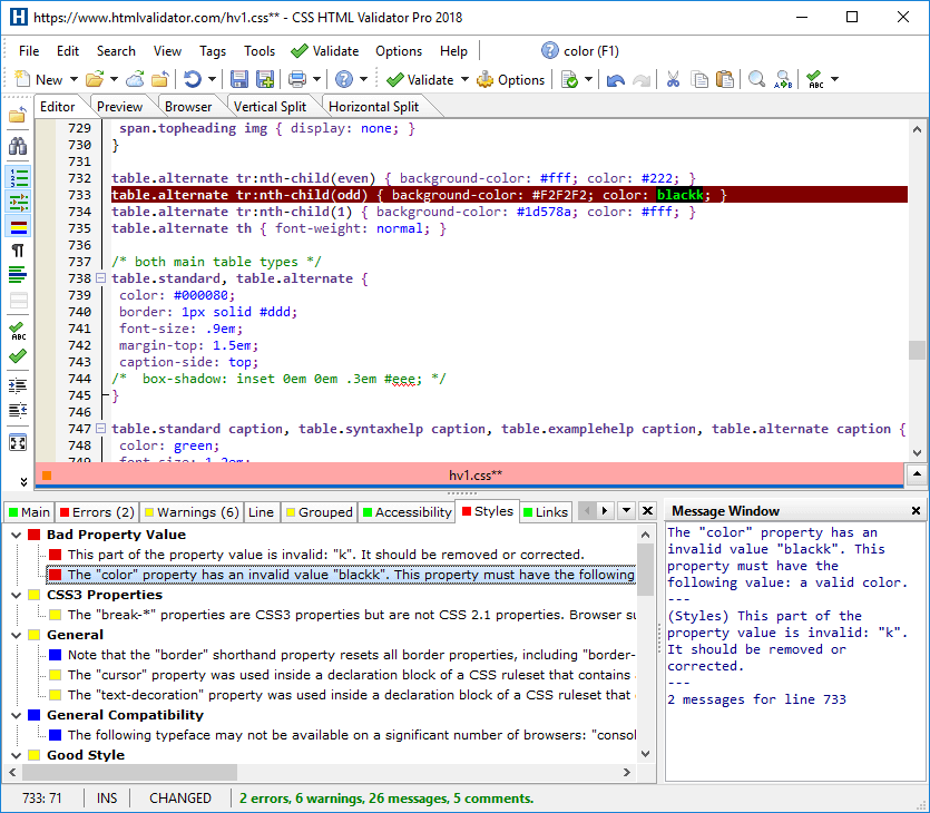 Integrated Editor Showing Style Messages