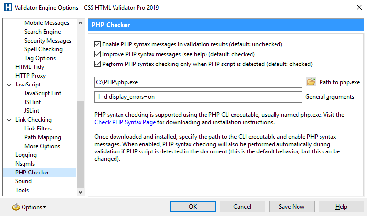Validator Engine Options - PHP Checker Page