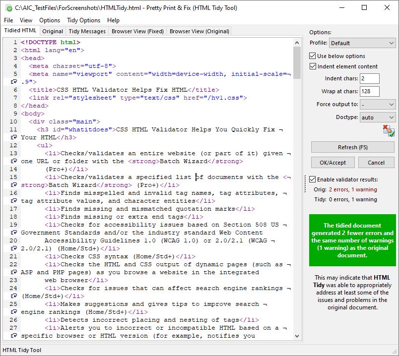 Screenshot of the Pretty Print & Fix Tool