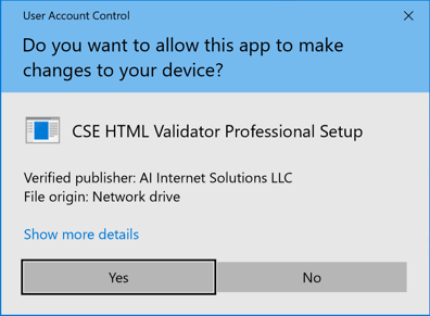 Answer yes to the <strong>User Account Control</strong> prompt