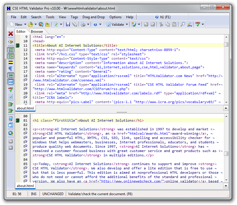CSE HTML Validator Screenshot