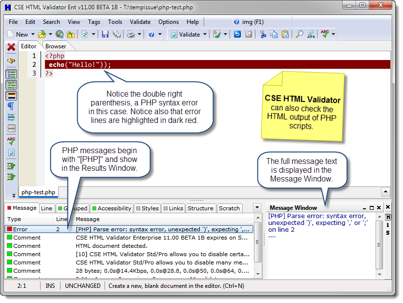 PHP Script Checking example screenshot in CSE HTML Validator