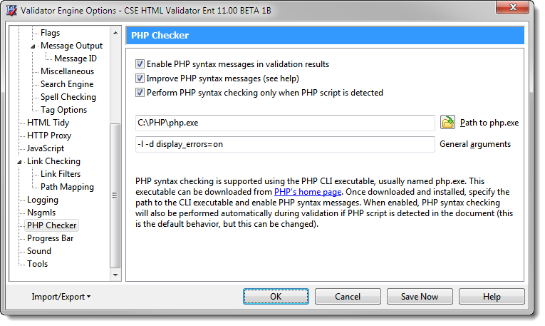 Validator Engine Options - PHP Checker Page