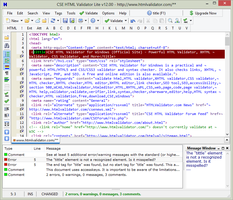 Screenshot of CSE HTML Validator Lite v12.0