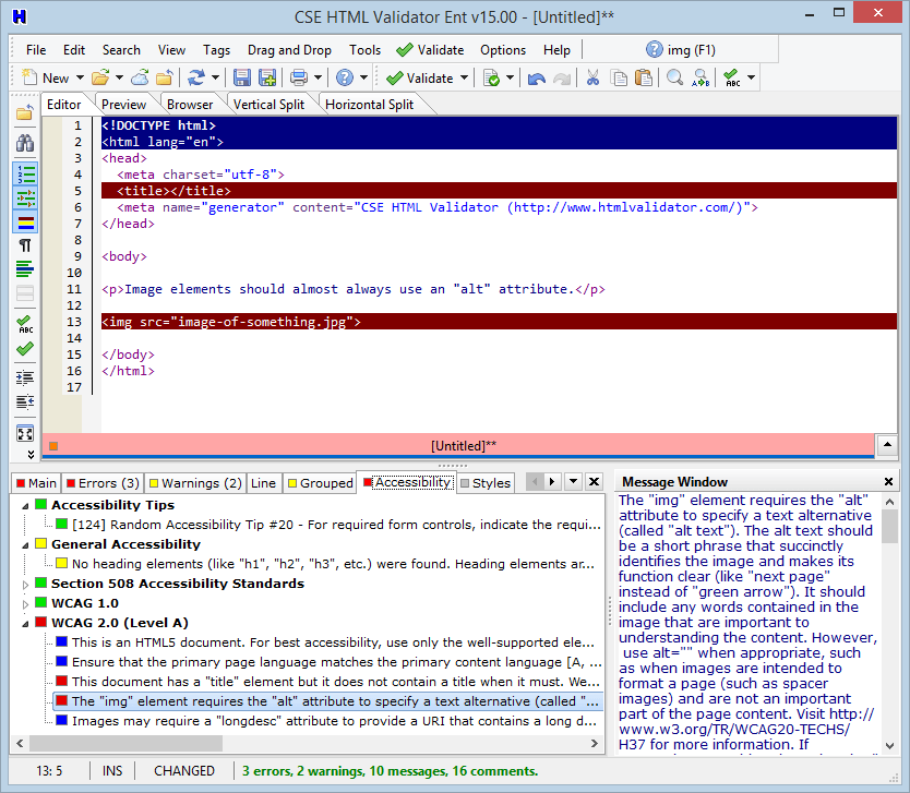 Integrated Editor Showing Accessibility Messages