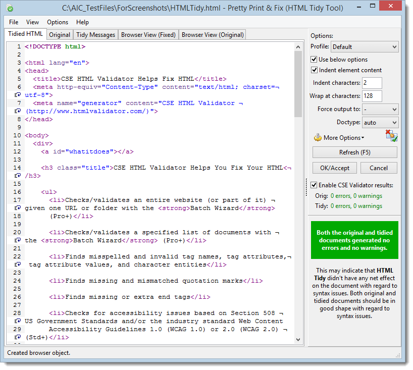 Screenshot of the Pretty Print & Fix HTML Tool