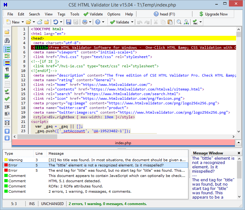 Screenshot of CSE HTML Validator Lite v15.0