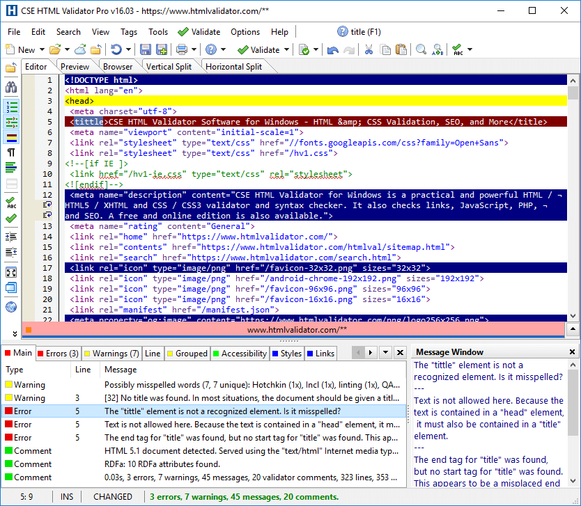 Screenshot of CSE HTML Validator