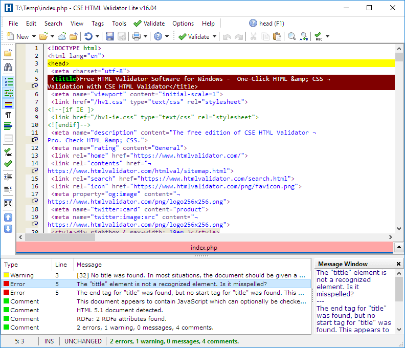 Screenshot of CSE HTML Validator Lite v16.0