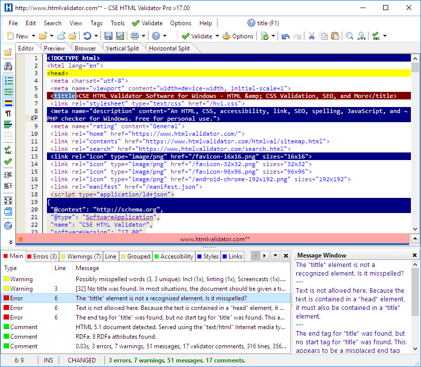 screenshot of CSE HTML Validator highlighting an error