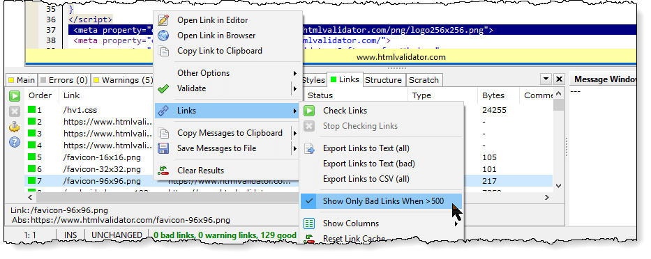 Show only bad links option in CSS HTML Validator